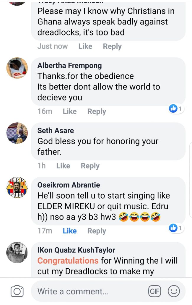 Screenshot 20190514 153832 Facebook - SCREENSHOTS: Does The Christian Bible Speaks Against Dreadlocks? — Facebook Users Ask Kwesi Arthur's Pentecost Father aka 'Delilah'