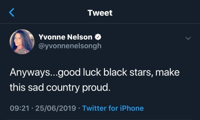 Yvonne Nelson tweet 700x - Win This Trophy And Save Depressed Ghanaians – Yvonne Nelson Wishes Black Stars Good Luck
