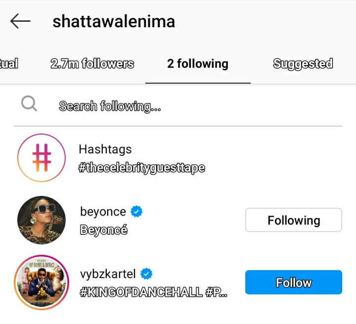 wale follows - Shatta Wale Unfollows Everyone On His Instagram Page Except These Two