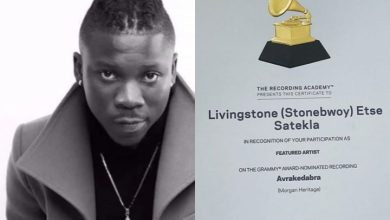 Photo of Dancehall act Stonebwoy finally receives certificate for 2017 Grammy nomination