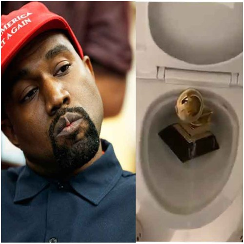 Preacher Kanye West Pee on his Grammy award inside the toilet bowl (Watch)