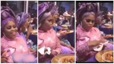 Photo of Degree Slay Queen Seen On Camera Stealing Meat @ Wedding Reception – Video