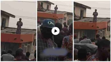 Photo of Lady Mysteriously Appears On A Roof Top – Watch Trending Video Now