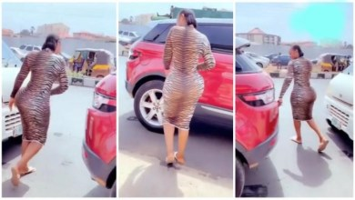 Photo of Heavy Loaded Backside Lady Causes Traffic As She Packs Her Range – Video Below