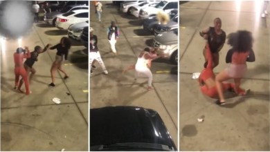 Wrestle Fight Between Slay Queens Makes Wig Fly High In A Parking Lot - Video