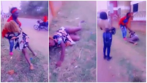 Girl Nearly Fall Into Gutter After After Drinking Bottles Of Alcohol - Video