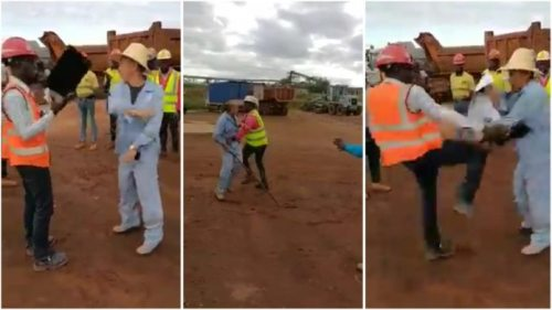 Sierra Leonean Safety officer Beats Up Chinese Miner After Being Attacked - Video Below