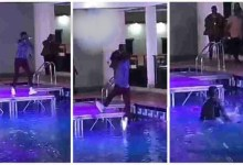 Photo of Trending Ghanaian artiste Falls Into A Pool During Performance At A Party – Video