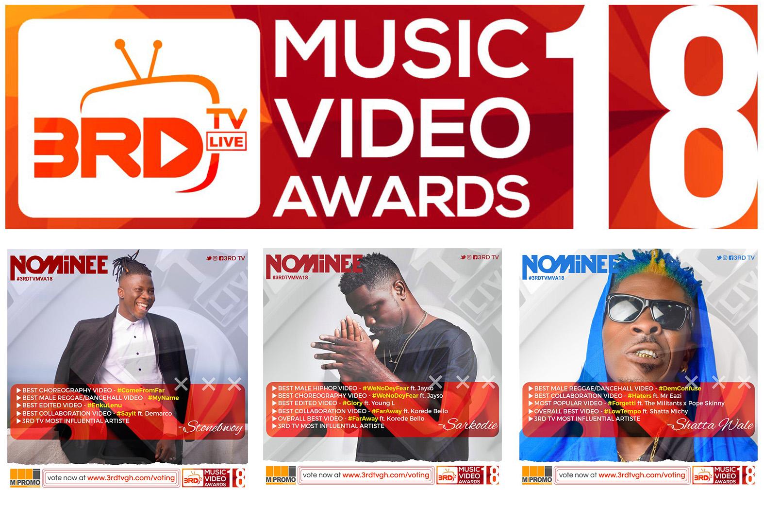 Stonebwoy & Sarkodie lead nominees for 2018 3RD TV Music