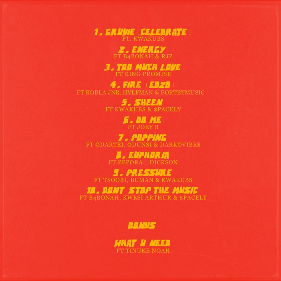 Here is the tracklist for Kuvie's Gruvie feat. Joey B, King Promise & more