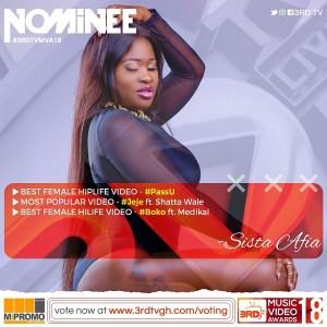 Sista Afia gets 3 nominations at 3rd Tv Music Video Awards