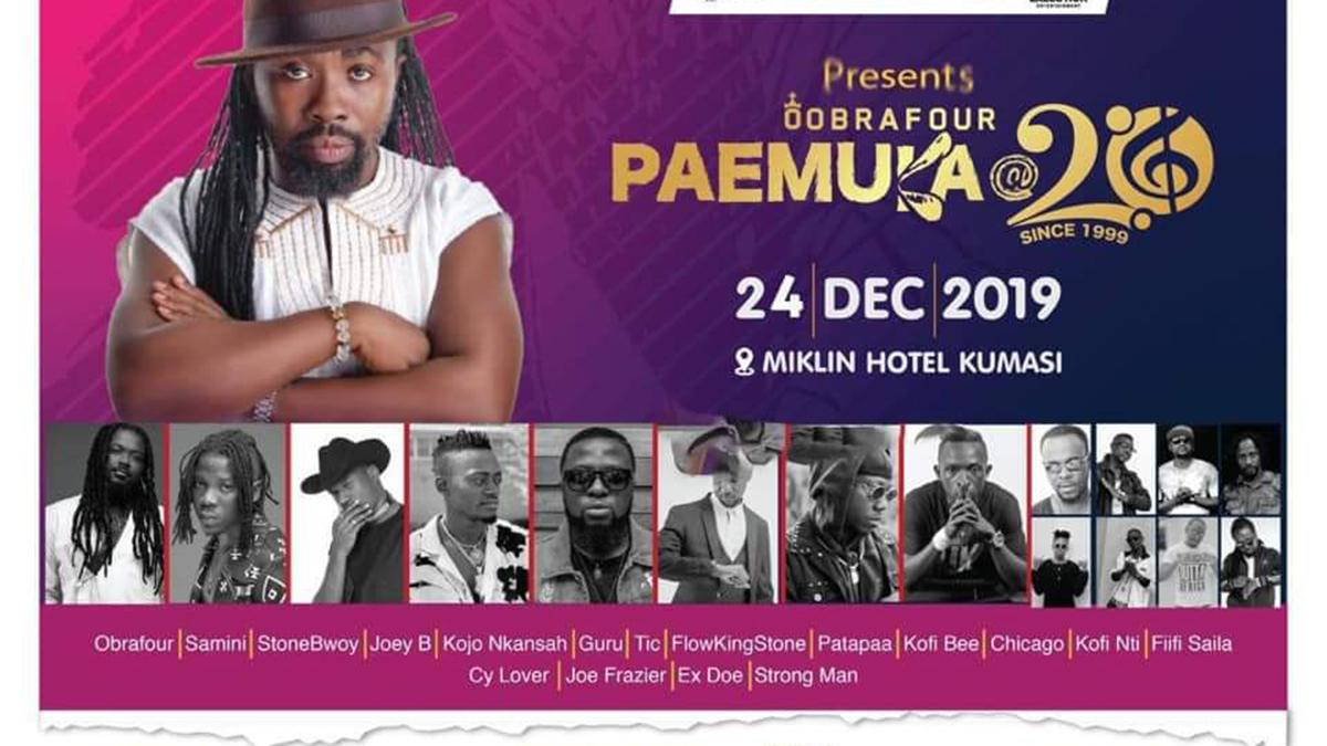 Samini, Stonebwoy, Guru, 13 others to perform at Obrafour's Pae Mu Ka @ 20 concert in Kumasi