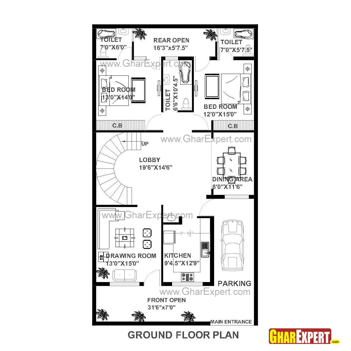 House Plan Of 30 Feet By 60 Feet Plot Squre Feet