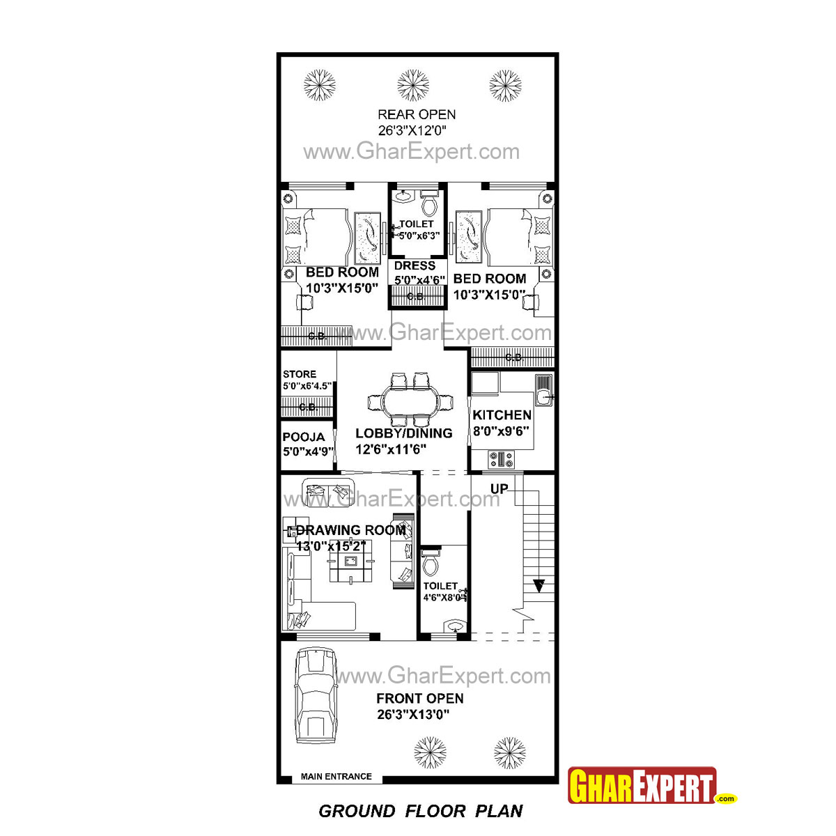 House Plan For 27 Feet By 70 Feet Plot Plot Size 210