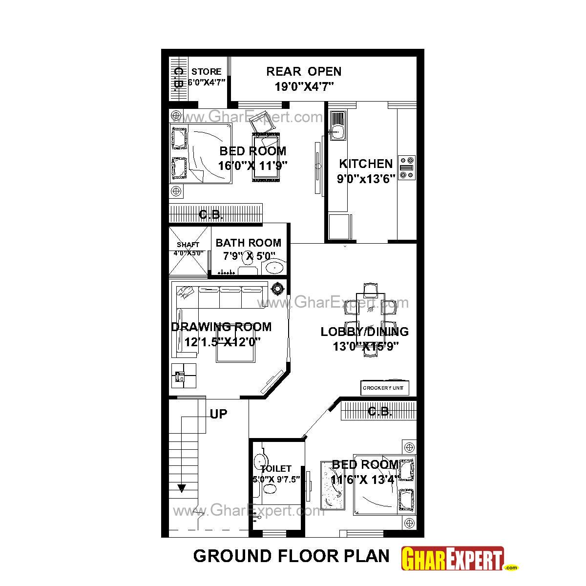 House Plan For 27 Feet By 50 Feet Plot Plot Size 150