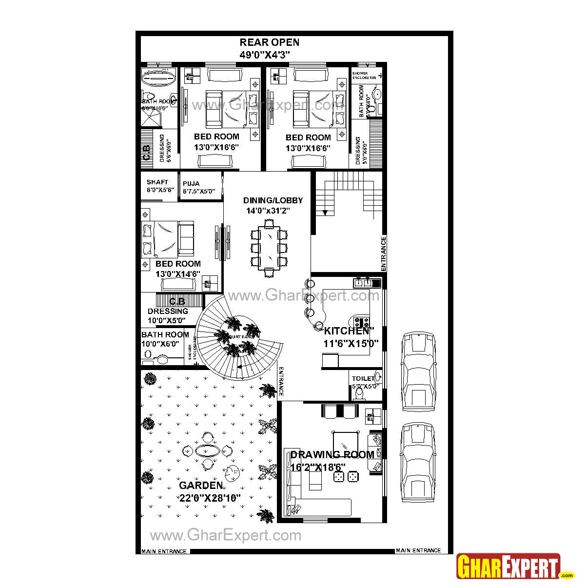 House Plan For 51 Feet By 84 Feet Plot Plot Size 476