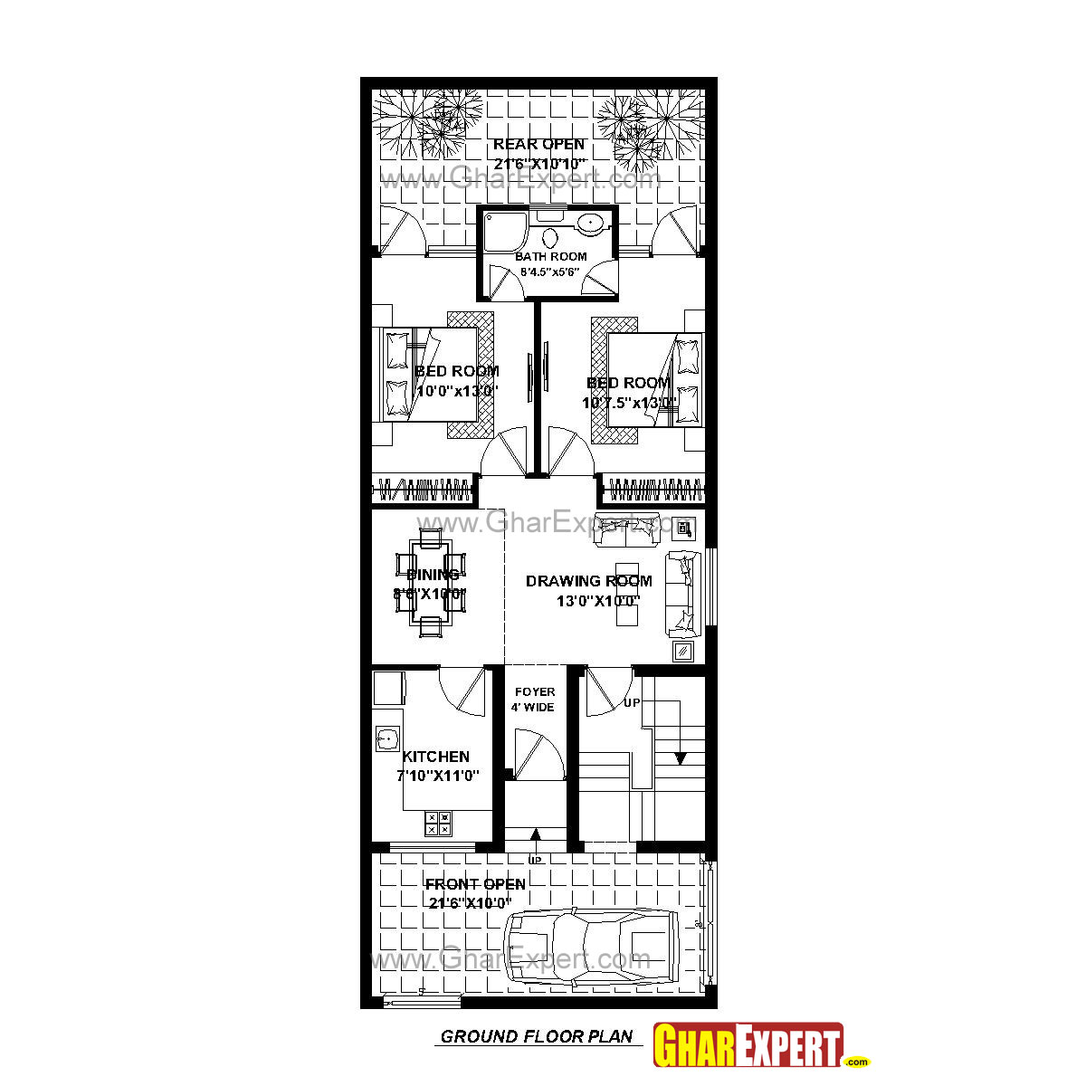House Plan For 23 Feet By 60 Feet Plot Plot Size 153