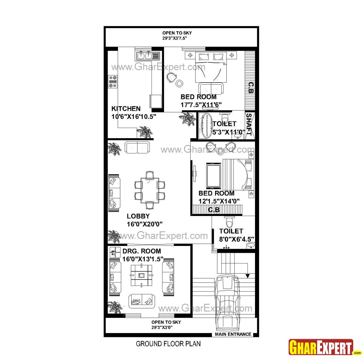GC 1310 Plan House Plan For 30 Feet By 60 Feet Plot Plot