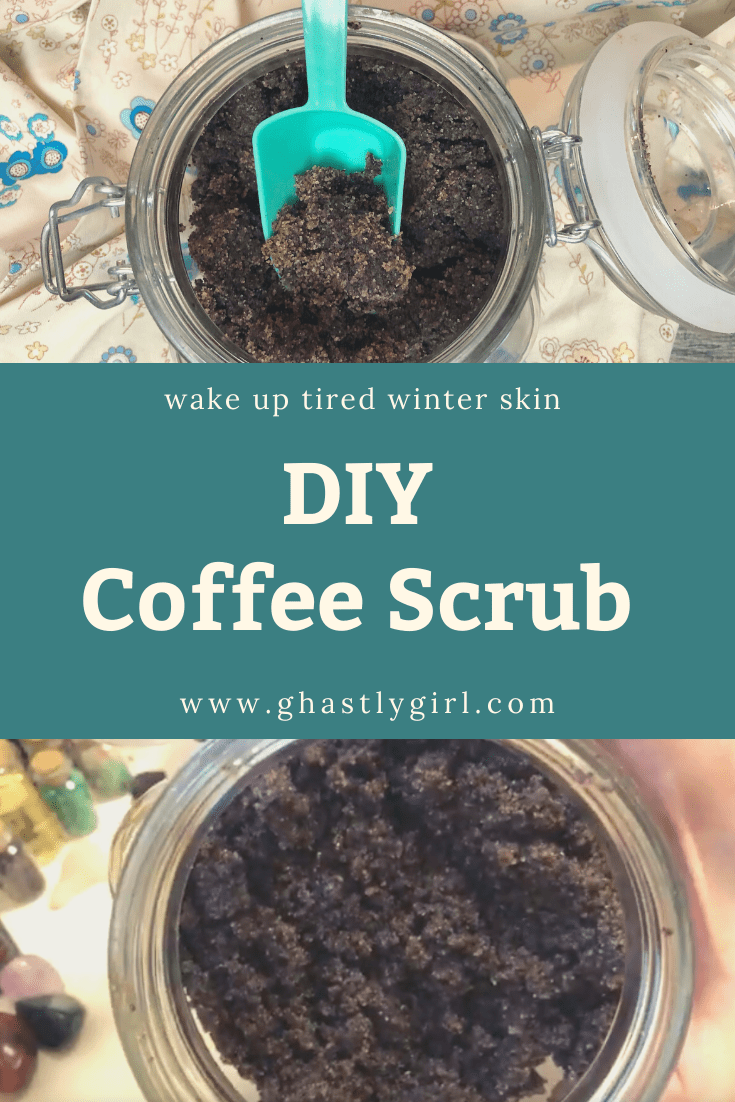 Our simple 5 ingredient DIY coffee scrub is a great way to refresh skin and reuse your morning coffee grounds! #DIYbeauty #DIYbodyscrub #DIYcoffeescrub #upcycled