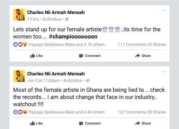 Shatta Wale Facebook Post Calling For Support For Our Female Musicians
