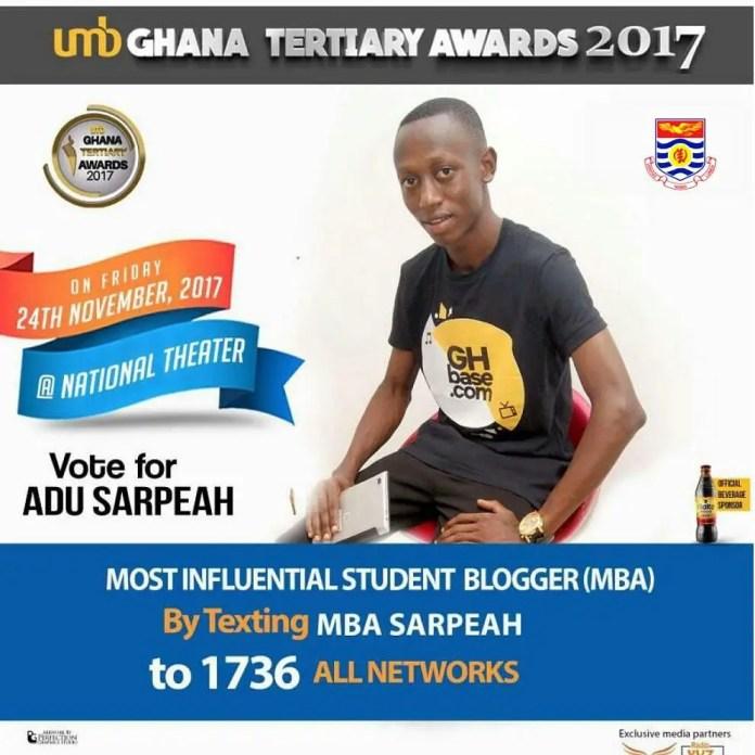 Adu Sarpeah Nominated For 2017 UMB Ghana Tertiary Awards