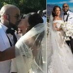 Photos & Video From Bank W and Adesua Etomi's White Wedding In South Africa
