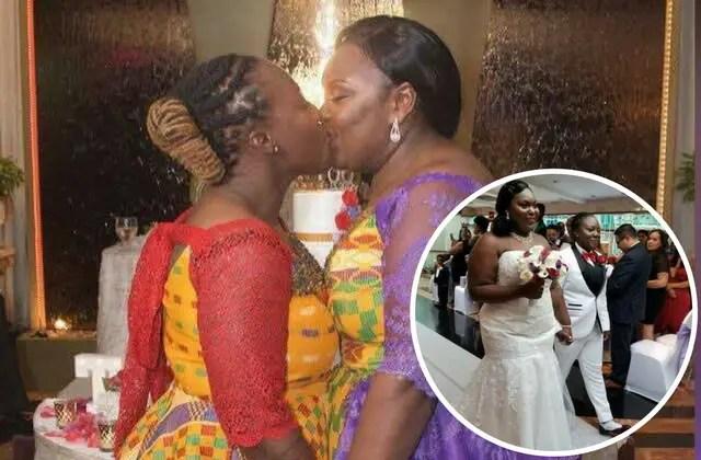 Ghanaian lesbians getting married wearing kente