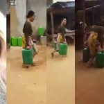 WATCH The Funny Moment A Nigerian Slay Queen Carrying Gallons Of Water Ran Away When Someone Identified Her (+VIDEO/PHOTO)