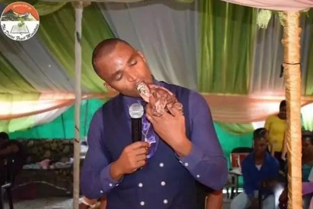 Apostle kills dog1 - Pastor kills dog, eats it raw during service