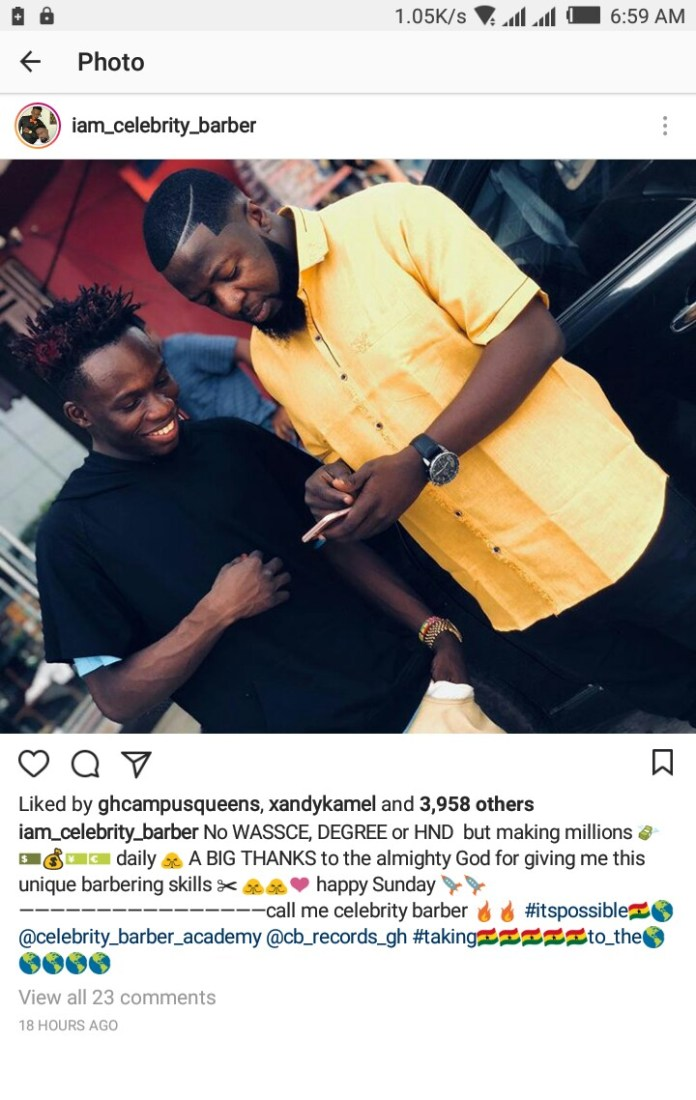 IMG 20190311 074346 868 - No WASSCE, Degree or HND certificate but making millions daily – Celebrity Barber brags