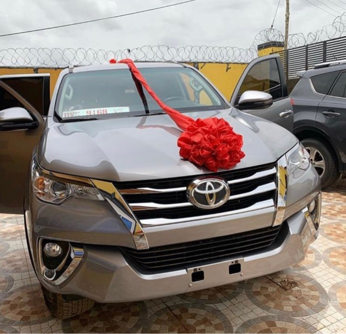 0CE1E8CA 8614 4FAA B373 F947F27DB058 - Actress Tracey Boakye's Fiancé Surprises Her With A Brand New 2019 Toyota Fortuner As Easter Gift (+ Photos)