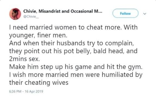 Chivie - 'Cheat More On Your Husbands With Fresh Boys' – Woman Tells Married Women