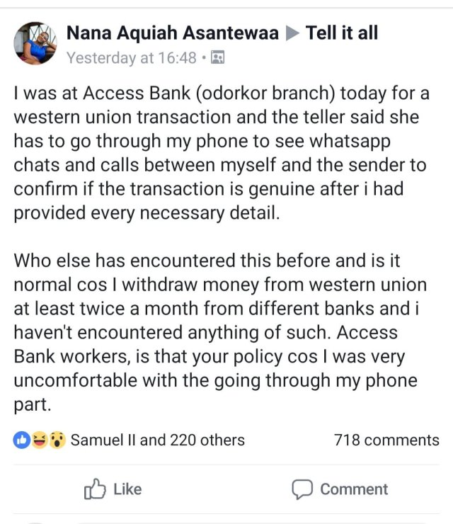 access bank - Lady shares her painful ordeal at a Ghanaian bank during a Western Union transaction (Screenshot)