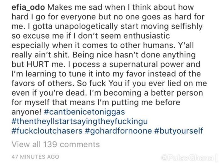 efia odo 1 - Efia Odo goes off Instagram after her secret 3some with the late Junior US and Shatta Wale exposed (Screenshots)