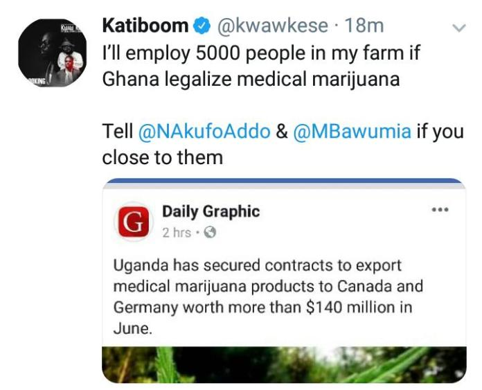 """kati - """"I'll employ 5000 people if marijuana is legalized"""" – Kwaw Kese"""