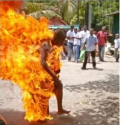 man on fire - Man sets himself ablaze after complaining to neighbors over inability to feed himself (Photo)