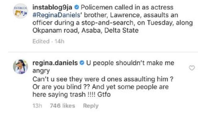regina daniels - Regina Daniels warns Nigerians after her brother was assaulted by the Police (Screenshot)