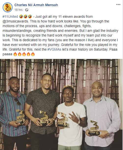 Just got all my 11 eleven awards from @3musicawards. This is how hard work looks like.  You go through the motions of the process, ups and downs, challenges, fights, misunderstandings, creating friends and enemies. But I am glad the Industry is beginning to recognize the hard work myself and my team put into our work. This is dedicated to my fans (you are the reason I live) and everyone I have ever worked with on my journey. Grateful for the role you played in my life. Grateful for this, next the #VGMAs let's make history on Saturday. Paaa paaaa