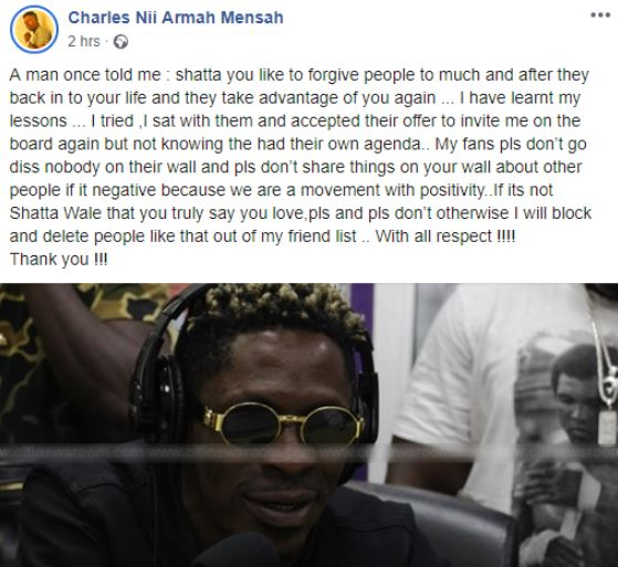 shatta wale post 1 - I will block you if you diss Stonebwoy on social media – Shatta Wale to SM fans