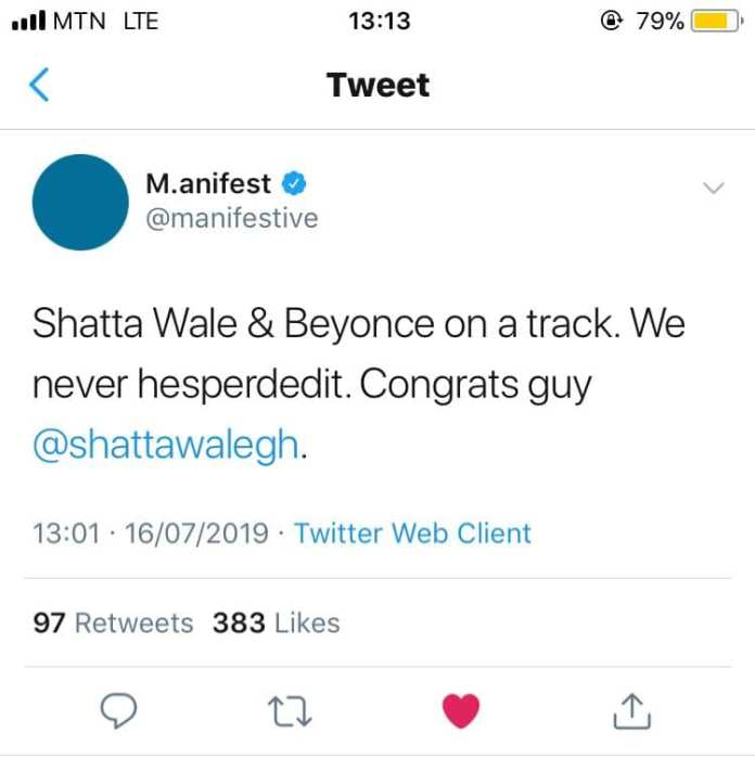 ma - M.anifest Reacts After Beyonce Featured Shatta Wale On Her Lion King Album (+Screenshot)
