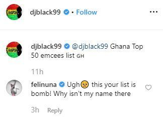 Feli Nuna Angry That Her Name Did Not Appear In DJ Black's Top 50 Rappers 1