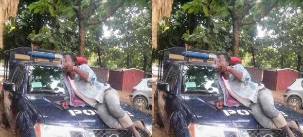 OMG! Man spotted smoking on a Police pick-up car 2