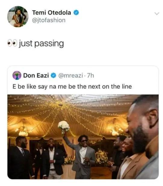 Mr Eazi's girlfriend, Temi Otedola reacts after boyfriend announces possible wedding 2