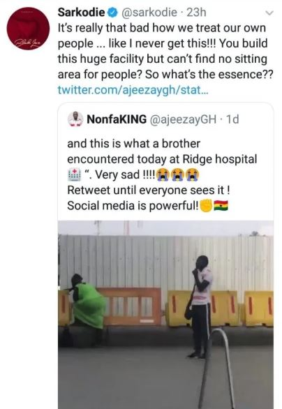 Sarkodie loses his cool, blasts authorities of Ridge Hospital