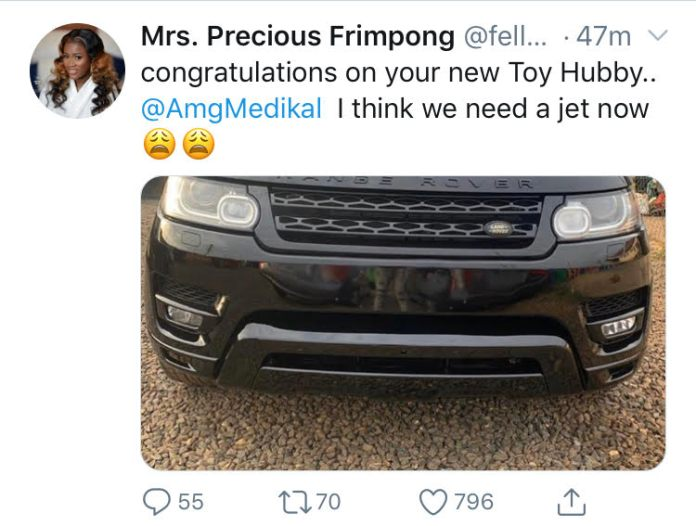 """""""we need a Private Jet; not cars""""- Fella Makafui tells medikal after he bought a new Range Rover. 2"""