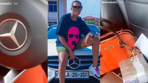 Fella Makafui Puts On Display The Inside Of Her Expensive Benz And Shows Bundles Of Cash