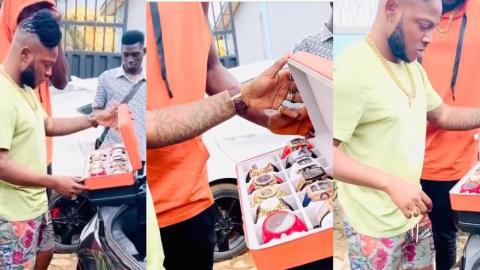 Money Is Sweet – Keche Andrew Flexes As He Shows Off His Collection Of Watches