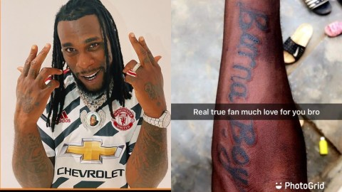Netizans Troll Fan Of Burna Boy For Tattooing His Name On His Hand (+DETAILS)