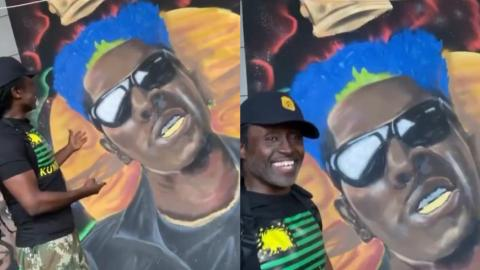 Reggie Rockstone Gives A Funny Reaction After Chancing On A Mural Of Shatta Wale At Dblack's Club