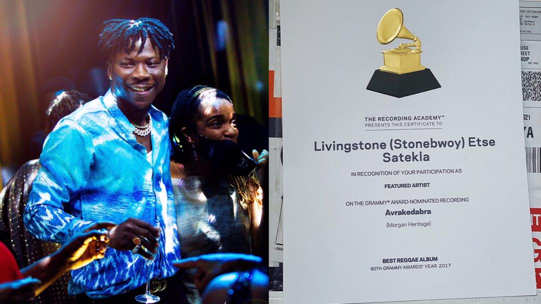 """Stonebwoy receives certificate of recognition from Grammy for being featured on Morgan Heritage's album, """"Avrakadabra"""""""